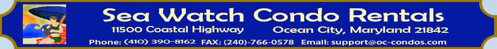 Ocean City Condos offers beachfront rental condos and townhouses throughout Ocean City.  Great for Senior Week Beach Rentals and  Pet Friendly Rentals, 